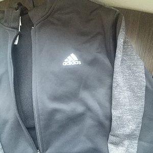 Black adidias zip up hoodie